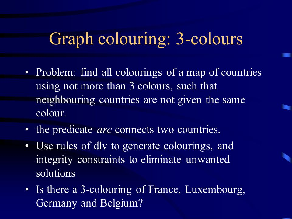 Graph colouring: 3-colours Problem: find all colourings of a map of countries using not more than 3 colours, such that neighbouring countries are not given the same colour.
