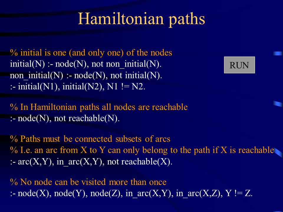 Hamiltonian paths % initial is one (and only one) of the nodes initial(N) :- node(N), not non_initial(N).