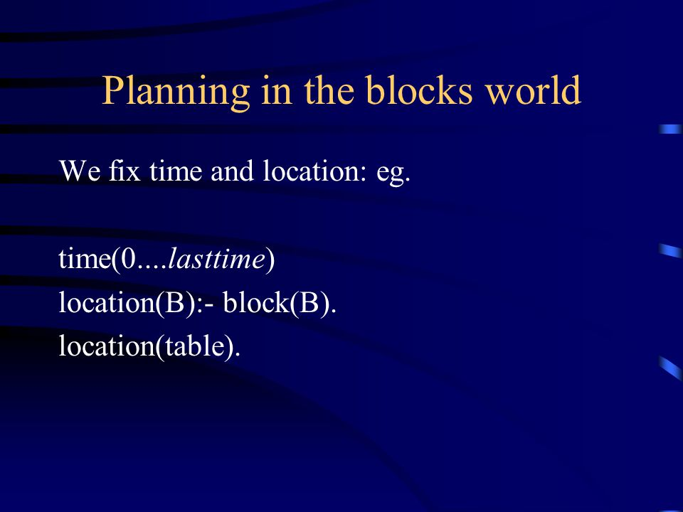 Planning in the blocks world We fix time and location: eg.