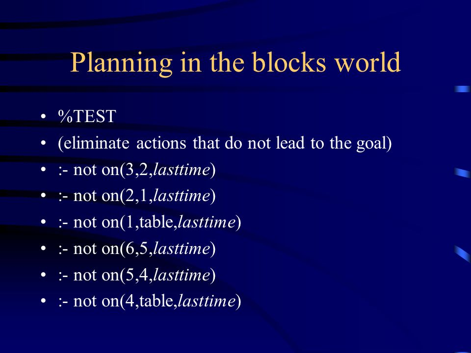 Planning in the blocks world %TEST (eliminate actions that do not lead to the goal) :- not on(3,2,lasttime) :- not on(2,1,lasttime) :- not on(1,table,lasttime) :- not on(6,5,lasttime) :- not on(5,4,lasttime) :- not on(4,table,lasttime)