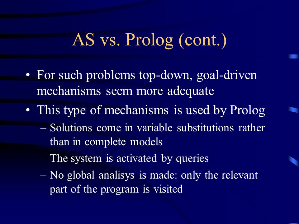 AS vs. Prolog (cont.) For such problems top-down, goal-driven mechanisms seem more adequate This type of mechanisms is used by Prolog –Solutions come