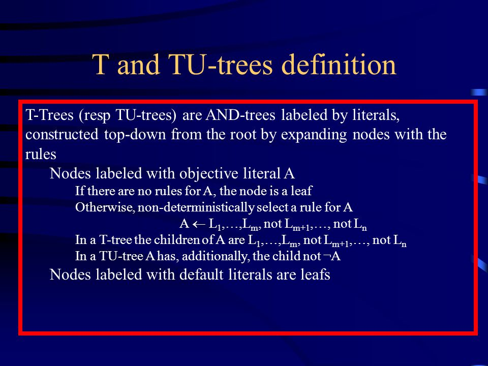 T and TU-trees definition T-Trees (resp TU-trees) are AND-trees labeled by literals, constructed top-down from the root by expanding nodes with the rules Nodes labeled with objective literal A If there are no rules for A, the node is a leaf Otherwise, non-deterministically select a rule for A A  L 1,…,L m, not L m+1,…, not L n In a T-tree the children of A are L 1,…,L m, not L m+1,…, not L n In a TU-tree A has, additionally, the child not ¬A Nodes labeled with default literals are leafs
