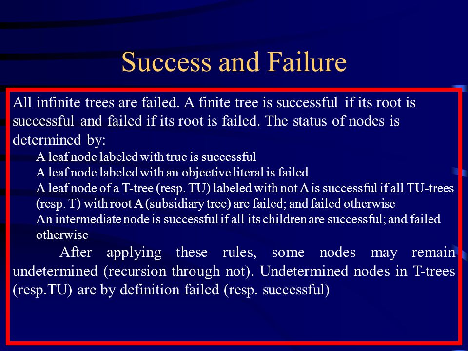 Success and Failure All infinite trees are failed.