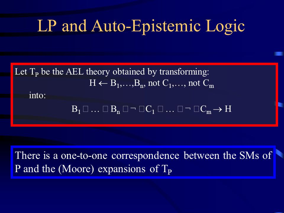 LP and Auto-Epistemic Logic Let  P be the AEL theory obtained by transforming: H  B 1,…,B n, not C 1,…, not C m into: B 1  …  B n  ¬ C 1  …  ¬ C m  H There is a one-to-one correspondence between the SMs of P and the (Moore) expansions of  P