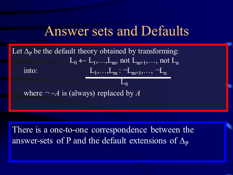 Answer sets and Defaults Let  P be the default theory obtained by transforming: L 0  L 1,…,L m, not L m+1,…, not L n into: L 1,…,L m : ¬L m+1,…, ¬L n L 0 where ¬ ~A is (always) replaced by A There is a one-to-one correspondence between the answer-sets of P and the default extensions of  P