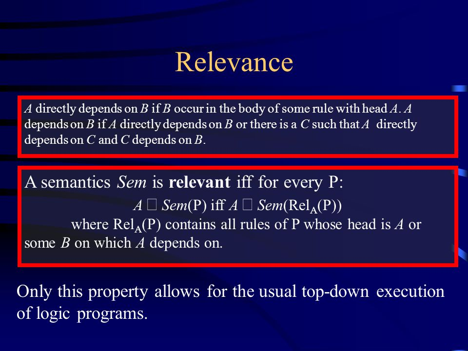 Relevance A directly depends on B if B occur in the body of some rule with head A.