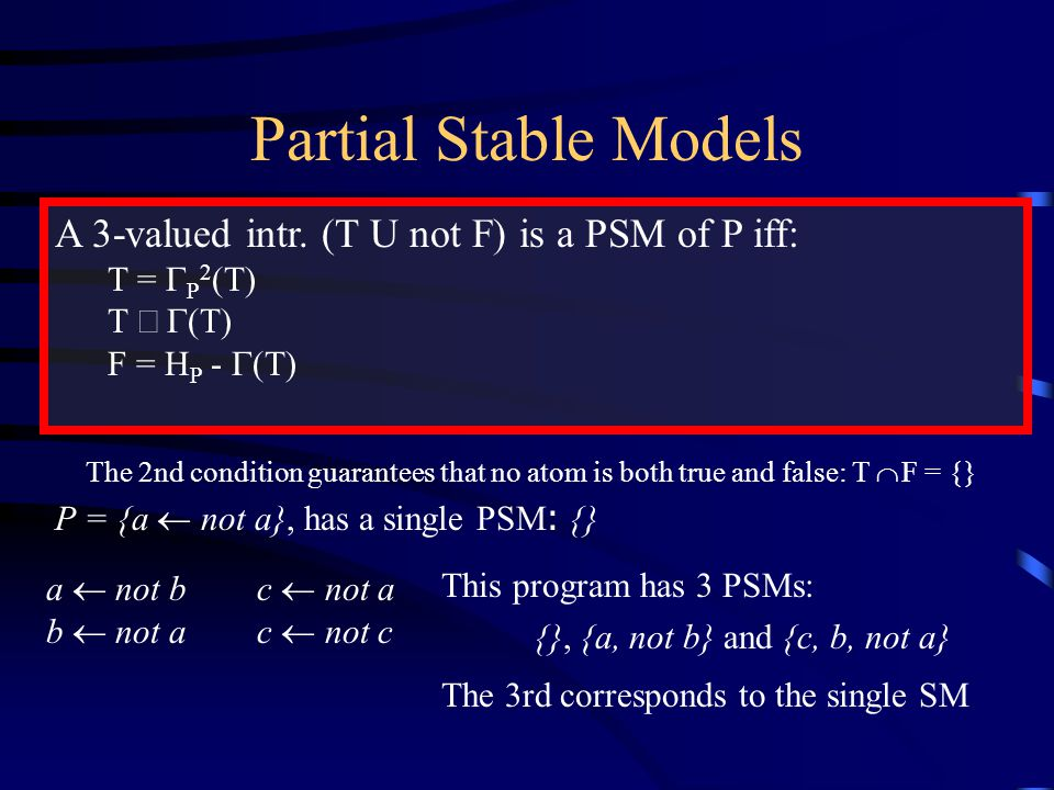 Partial Stable Models A 3-valued intr.