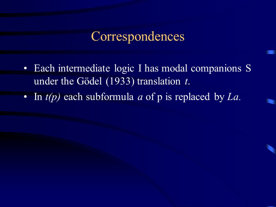 Correspondences Each intermediate logic I has modal companions S under the Gödel (1933) translation t.