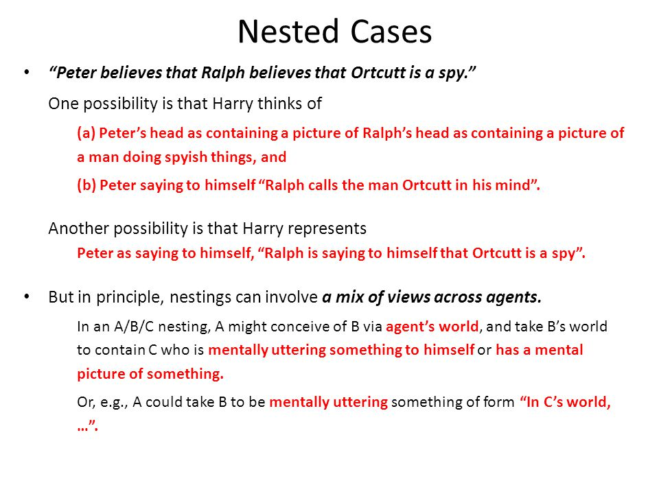 Nested Cases Peter believes that Ralph believes that Ortcutt is a spy. One possibility is that Harry thinks of (a) Peter's head as containing a picture of Ralph's head as containing a picture of a man doing spyish things, and (b) Peter saying to himself Ralph calls the man Ortcutt in his mind .