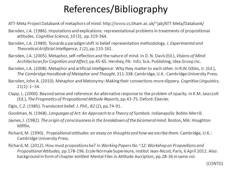References/Bibliography ATT-Meta Project Databank of metaphors of mind: http://www.cs.bham.ac.uk/~jab/ATT-Meta/Databank/ Barnden, J.A. (1986). Imputat