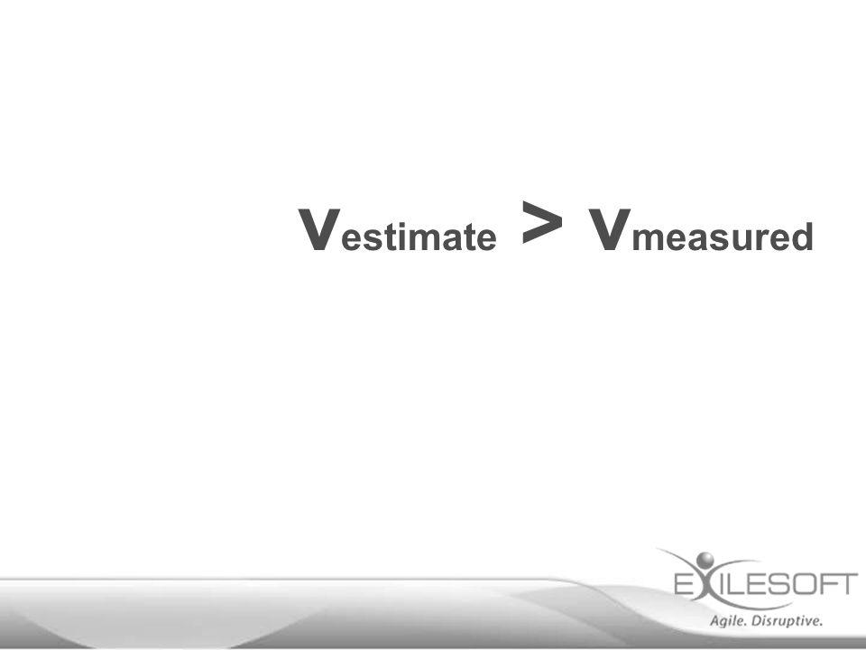 v estimate > v measured