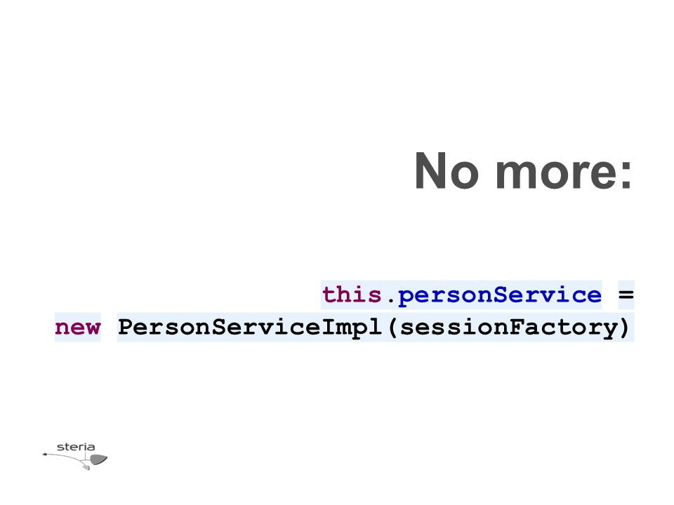 public class PersonController extends HttpServlet { private PersonService personService; public PersonController() { } public PersonController(PersonService personService) { this.personService = personService; } @Override public void init() throws ServletException { SessionFactory sf = HibernateLookup.getInstance(getServletContext()); this.personService = new PersonServiceImpl(sf); }