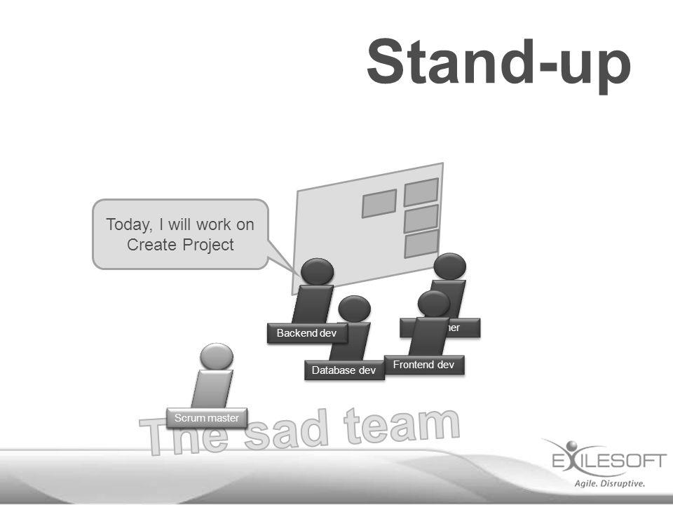 Stand-up Designer Frontend dev Database dev Today, I will work on Create Project Johannes Backend dev Scrum master