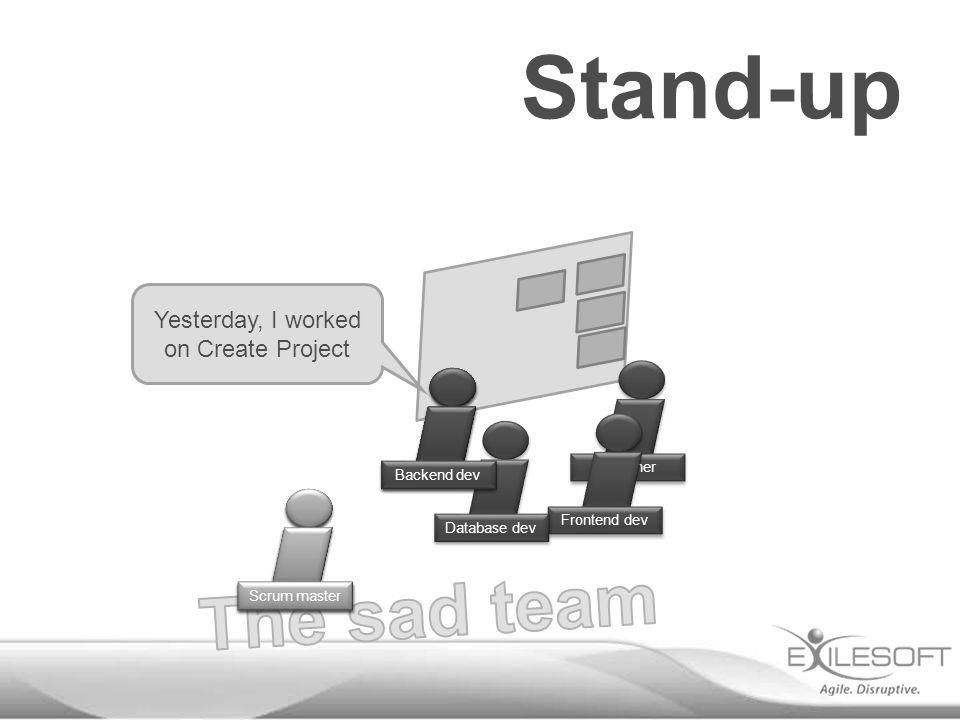 Stand-up Designer Frontend dev Database dev Yesterday, I worked on Create Project Johannes Backend dev Scrum master
