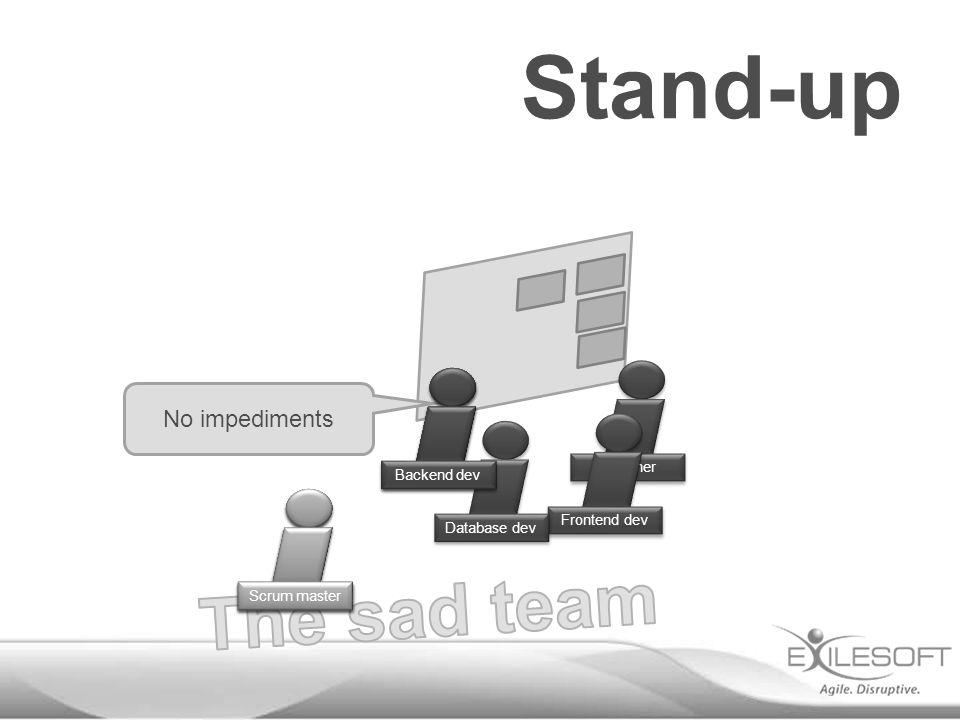 Stand-up No impediments Johannes Scrum master Designer Frontend dev Database dev Backend dev
