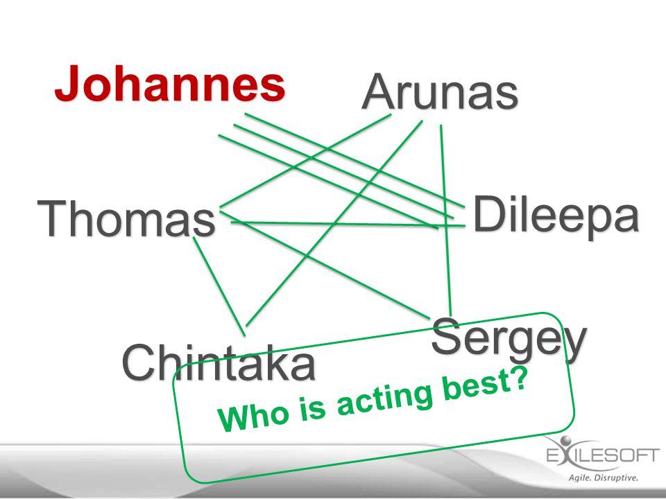 Dileepa Johannes Chintaka Sergey Arunas Thomas Who is acting best?