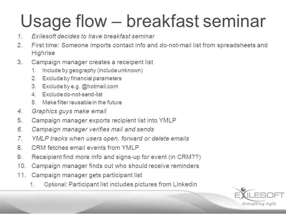 Usage flow – breakfast seminar 1.Exilesoft decides to have breakfast seminar 2.First time: Someone imports contact info and do-not-mail list from spreadsheets and Highrise 3.Campaign manager creates a receipent list 1.Include by geography (include unknown) 2.Exclude by financial parameters 3.Exclude by e.g.