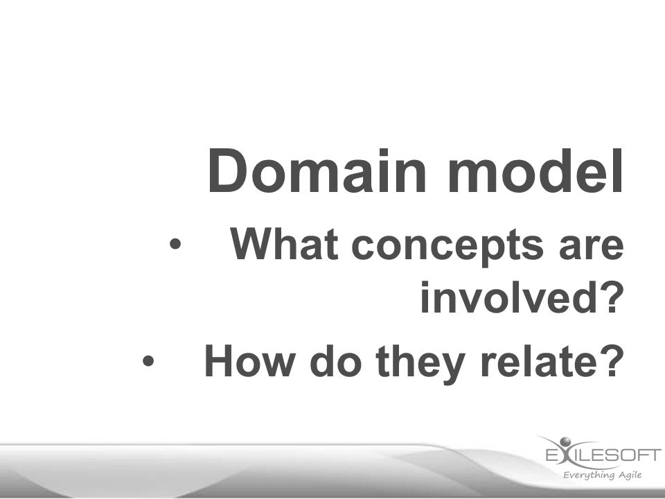 Domain model What concepts are involved How do they relate