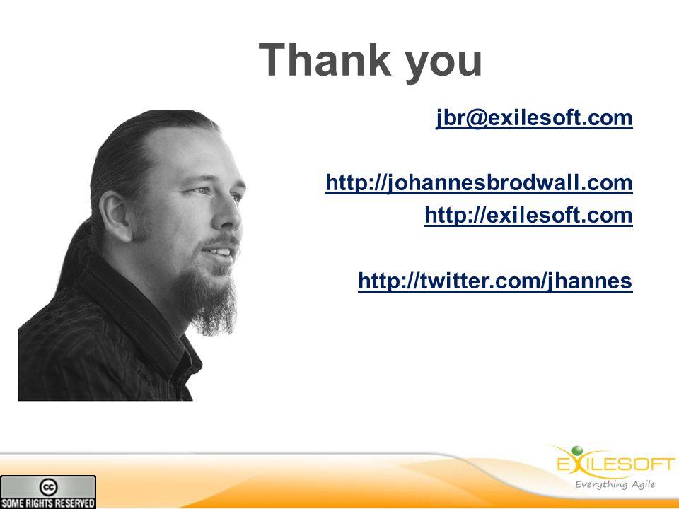 Thank you jbr@exilesoft.com http://johannesbrodwall.com http://exilesoft.com http://twitter.com/jhannes