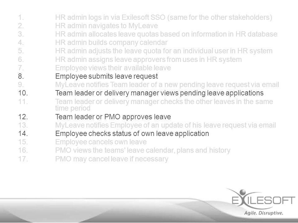 1.HR admin logs in via Exilesoft SSO (same for the other stakeholders) 2.HR admin navigates to MyLeave 3.HR admin allocates leave quotas based on info