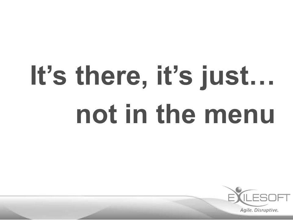 not in the menu