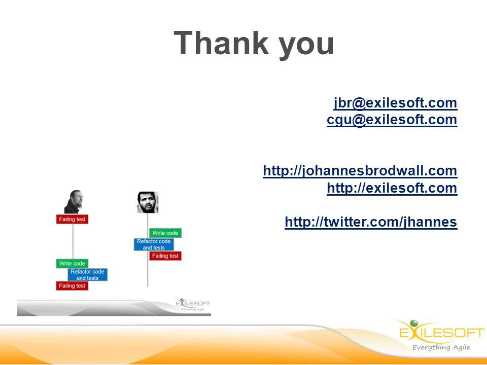 jbr@exilesoft.com cgu@exilesoft.com http://johannesbrodwall.com http://exilesoft.com http://twitter.com/jhannes Thank you