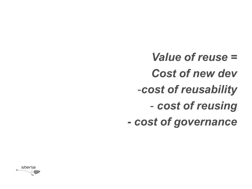 Value of reuse = Cost of new dev -cost of reusability - cost of reusing - cost of governance