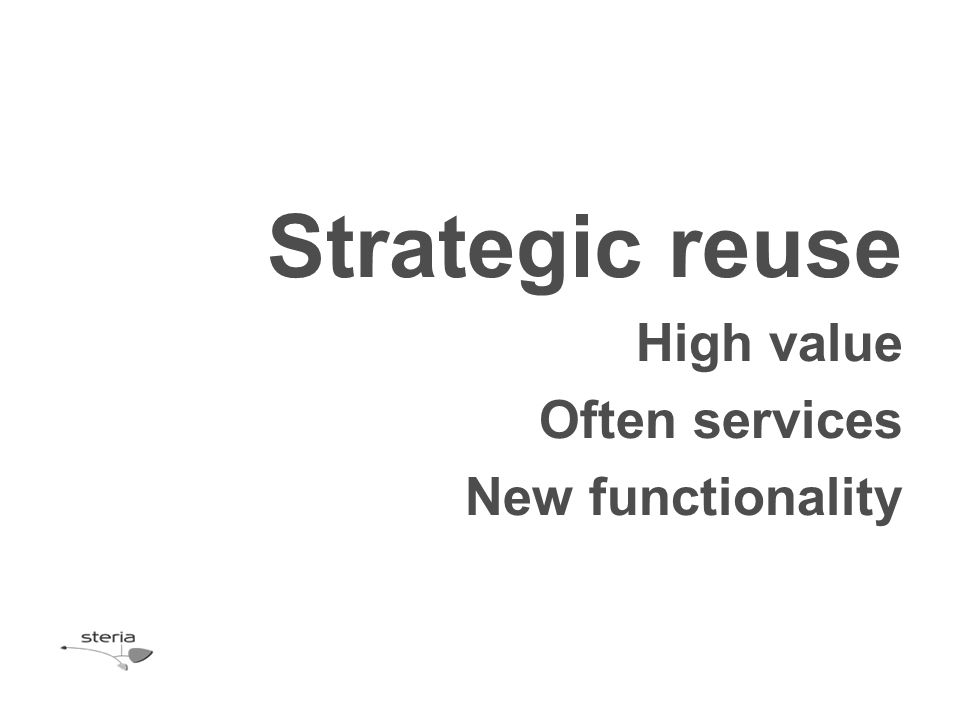 High value Often services New functionality