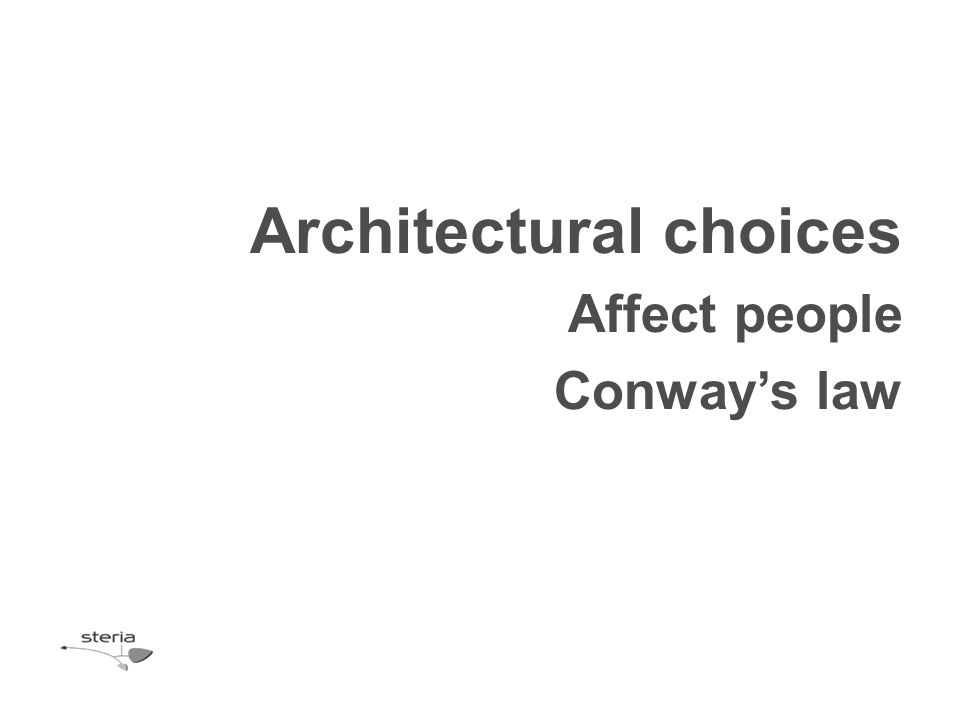 Architectural choices Affect people Conway's law