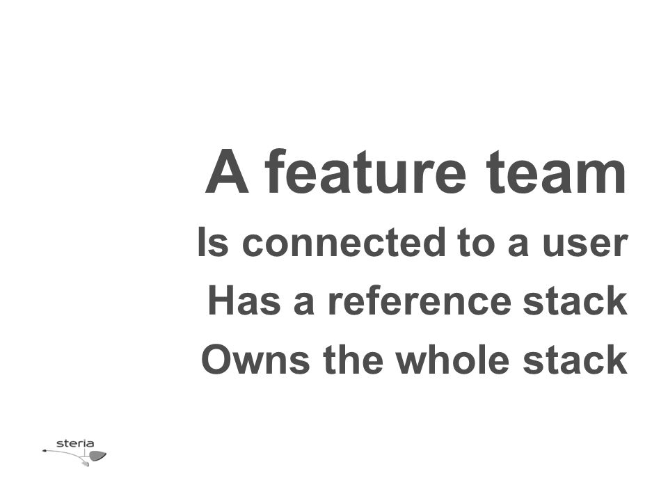A feature team Is connected to a user Has a reference stack Owns the whole stack