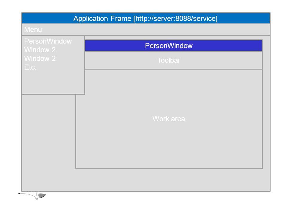 Application Frame [http://server:8088/service] Menu Work area Toolbar PersonWindow Window 2 Etc.