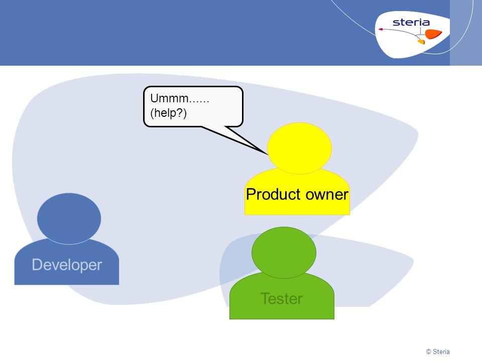 © Steria | 22/10/2014Presentation titlep24 © Steria Developer Product owner Tester Ummm......