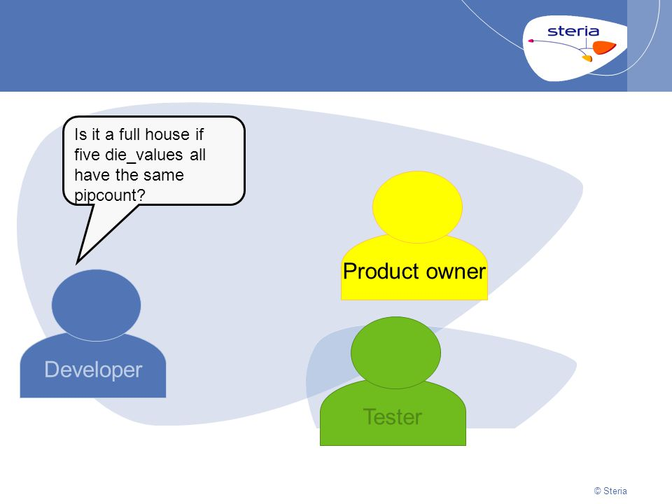 © Steria | 22/10/2014Presentation titlep40 © Steria Developer Product owner Tester Is it a full house if five die_values all have the same pipcount?