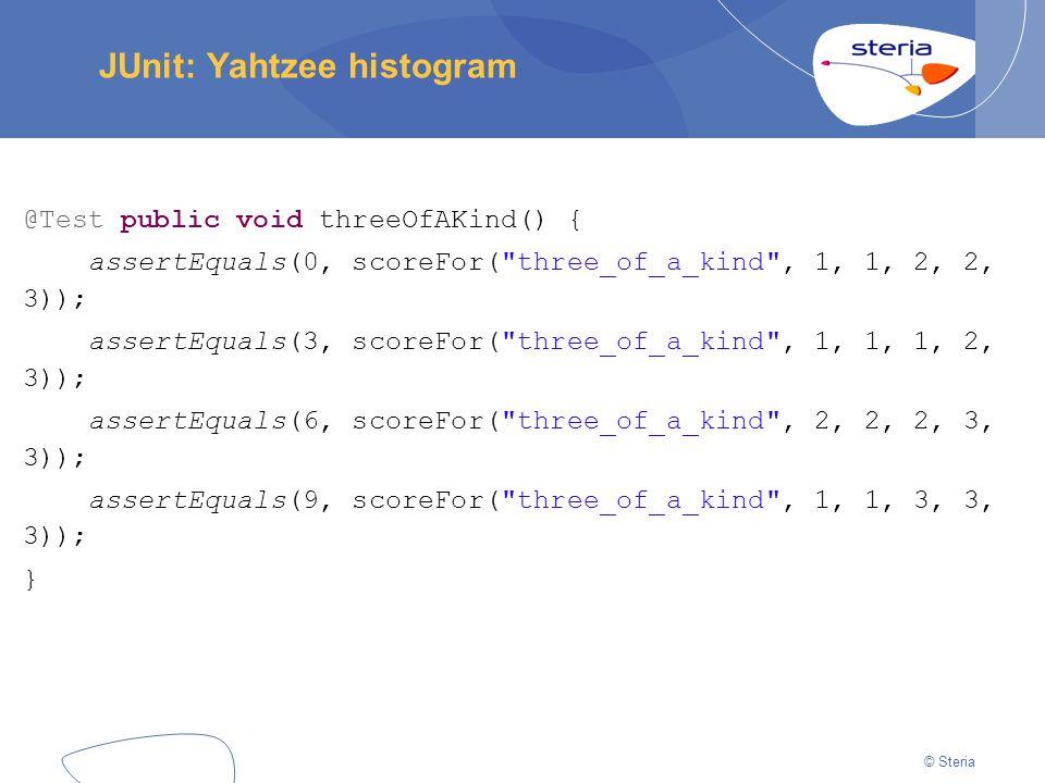 © Steria JUnit: Yahtzee histogram @Test public void threeOfAKind() { assertEquals(0, scoreFor( three_of_a_kind , 1, 1, 2, 2, 3)); assertEquals(3, scoreFor( three_of_a_kind , 1, 1, 1, 2, 3)); assertEquals(6, scoreFor( three_of_a_kind , 2, 2, 2, 3, 3)); assertEquals(9, scoreFor( three_of_a_kind , 1, 1, 3, 3, 3)); }