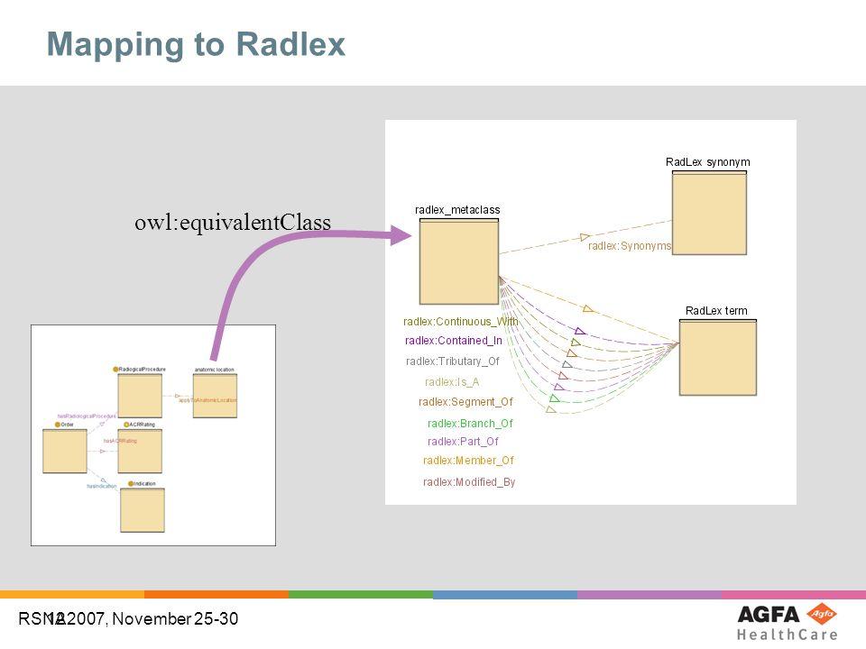 12 RSNA2007, November 25-30 Mapping to Radlex owl:equivalentClass