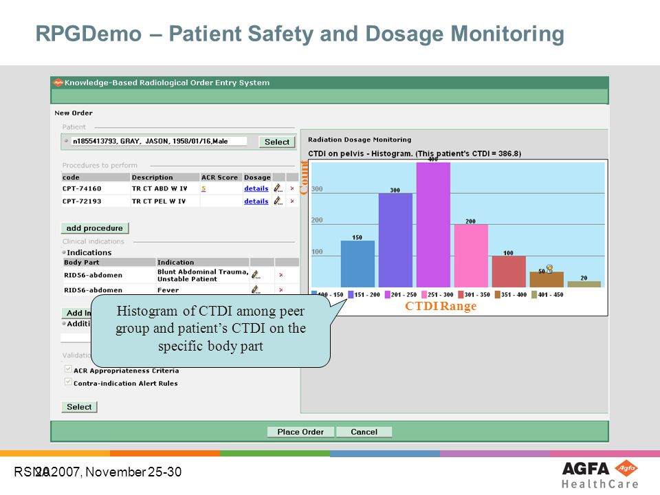 20 RSNA2007, November 25-30 RPGDemo – Patient Safety and Dosage Monitoring Histogram of CTDI among peer group and patient's CTDI on the specific body part CTDI Range Count