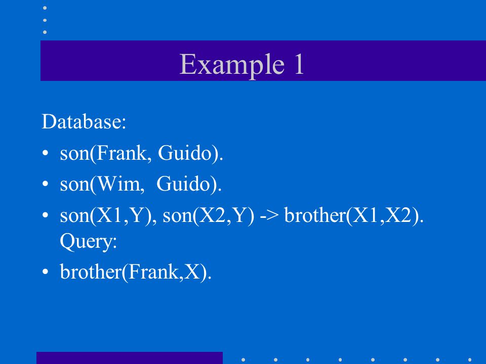 Example 1 Database: son(Frank, Guido). son(Wim, Guido).