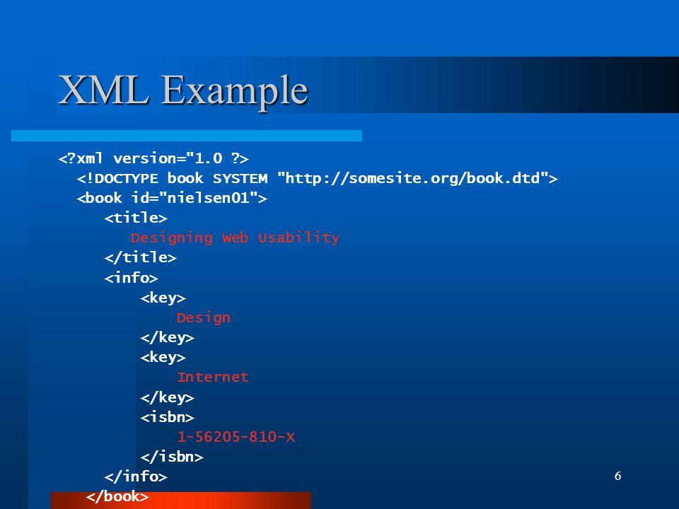 6 XML Example Designing Web Usability Design Internet 1-56205-810-X