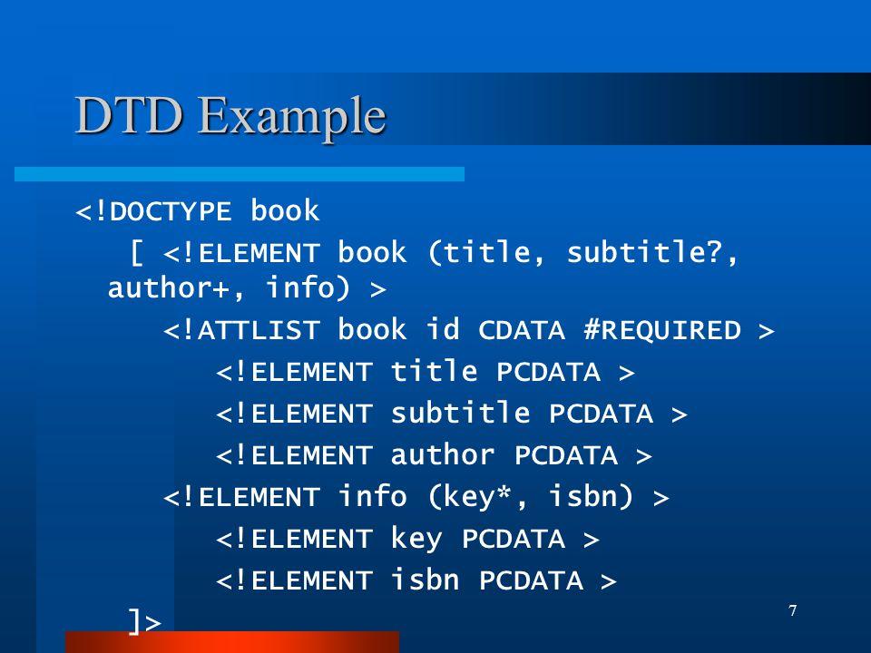 7 DTD Example <!DOCTYPE book [ ]>