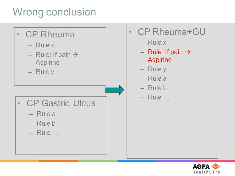 Wrong conclusion CP Rheuma –Rule x –Rule: If pain  Aspirine –Rule y CP Gastric Ulcus –Rule a –Rule b –Rule … CP Rheuma+GU –Rule x –Rule: If pain  Aspirine –Rule y –Rule a –Rule b –Rule …