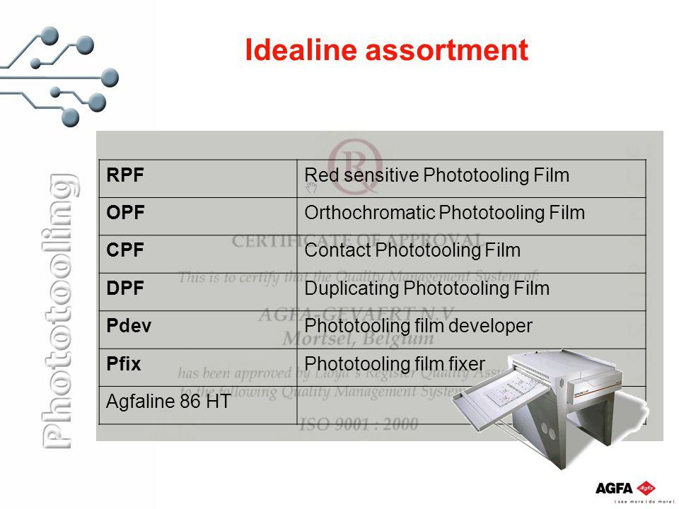 Idealine assortment RPFRed sensitive Phototooling Film OPFOrthochromatic Phototooling Film CPFContact Phototooling Film DPFDuplicating Phototooling Fi