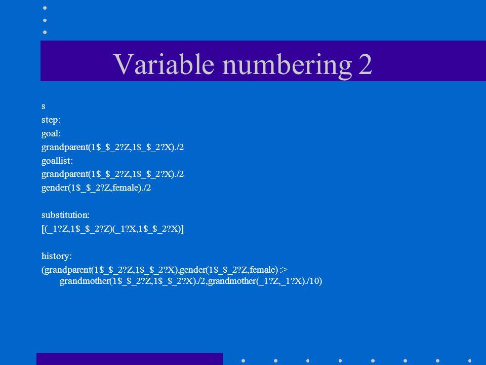 Variable numbering 2 s step: goal: grandparent(1$_$_2 Z,1$_$_2 X)./2 goallist: grandparent(1$_$_2 Z,1$_$_2 X)./2 gender(1$_$_2 Z,female)./2 substitution: [(_1 Z,1$_$_2 Z)(_1 X,1$_$_2 X)] history: (grandparent(1$_$_2 Z,1$_$_2 X),gender(1$_$_2 Z,female) :> grandmother(1$_$_2 Z,1$_$_2 X)./2,grandmother(_1 Z,_1 X)./10)