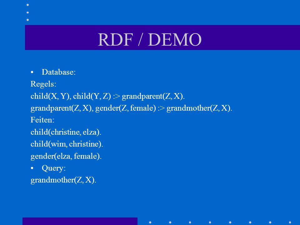 RDF / DEMO Database: Regels: child(X, Y), child(Y, Z) :> grandparent(Z, X).