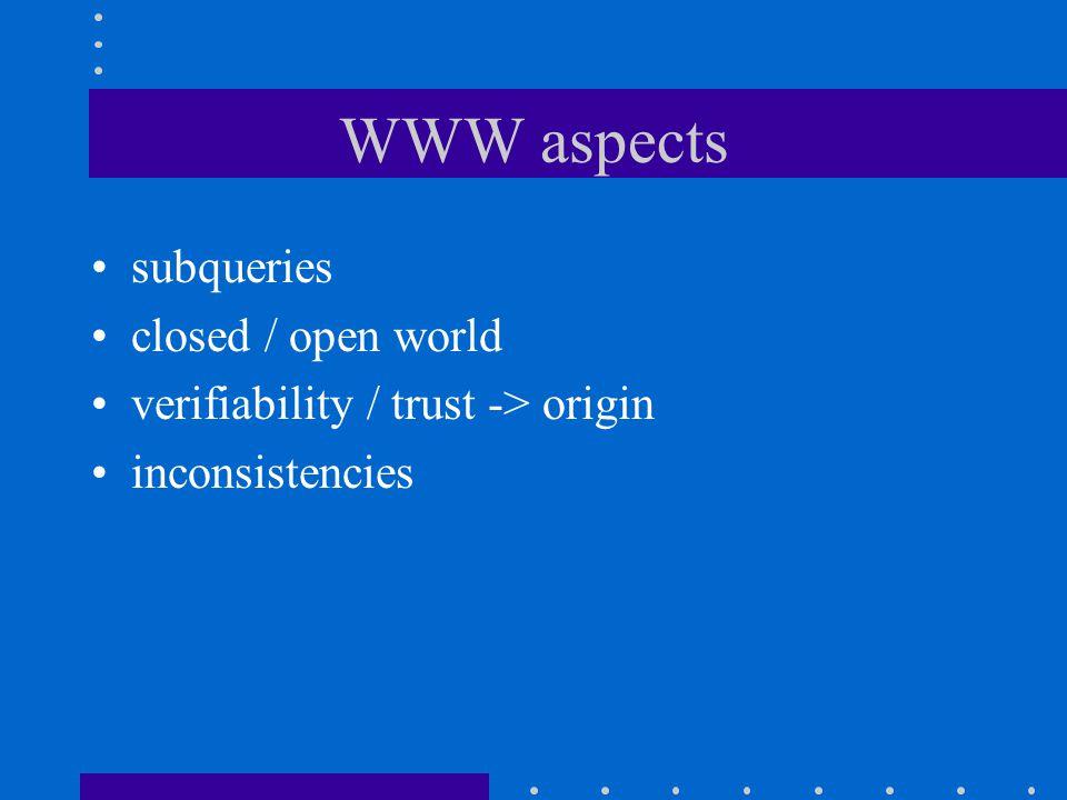WWW aspects subqueries closed / open world verifiability / trust -> origin inconsistencies