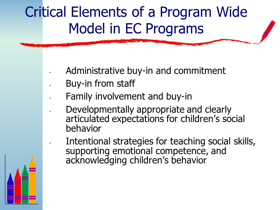 The Teaching Pyramid: Promoting Social and Emotional Competence within Early Education and Child Care Environments Supportive Environments Building Positive Relationships with Children and Families Social and Emotional Teaching Strategies Individualized Interventions Children At-Risk Children with persistent challenges High quality early education Social Skills Curricula Positive Behavior Support All Children