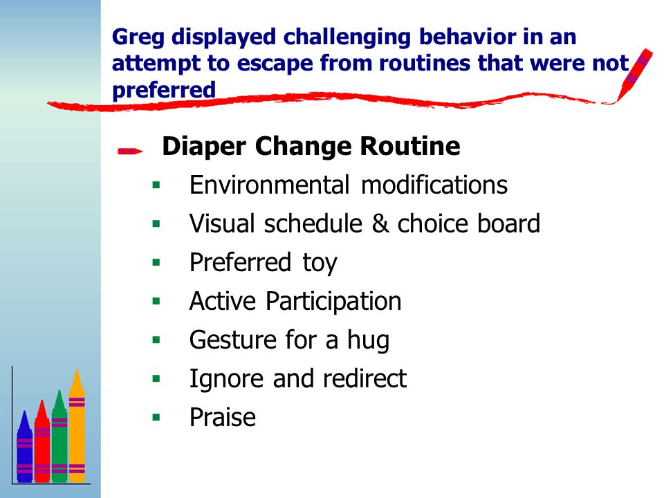 Greg displayed challenging behavior in an attempt to escape from routines that were not preferred Diaper Change Routine  Environmental modifications  Visual schedule & choice board  Preferred toy  Active Participation  Gesture for a hug  Ignore and redirect  Praise