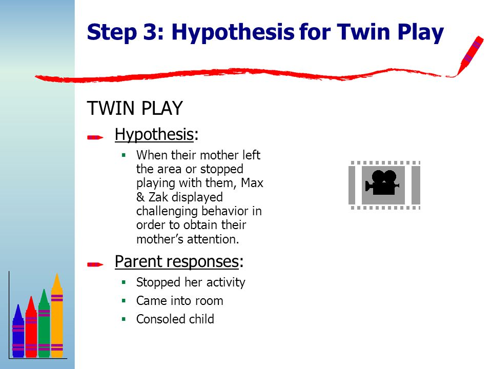 Step 3: Hypothesis for Twin Play TWIN PLAY Hypothesis:  When their mother left the area or stopped playing with them, Max & Zak displayed challenging behavior in order to obtain their mother's attention.
