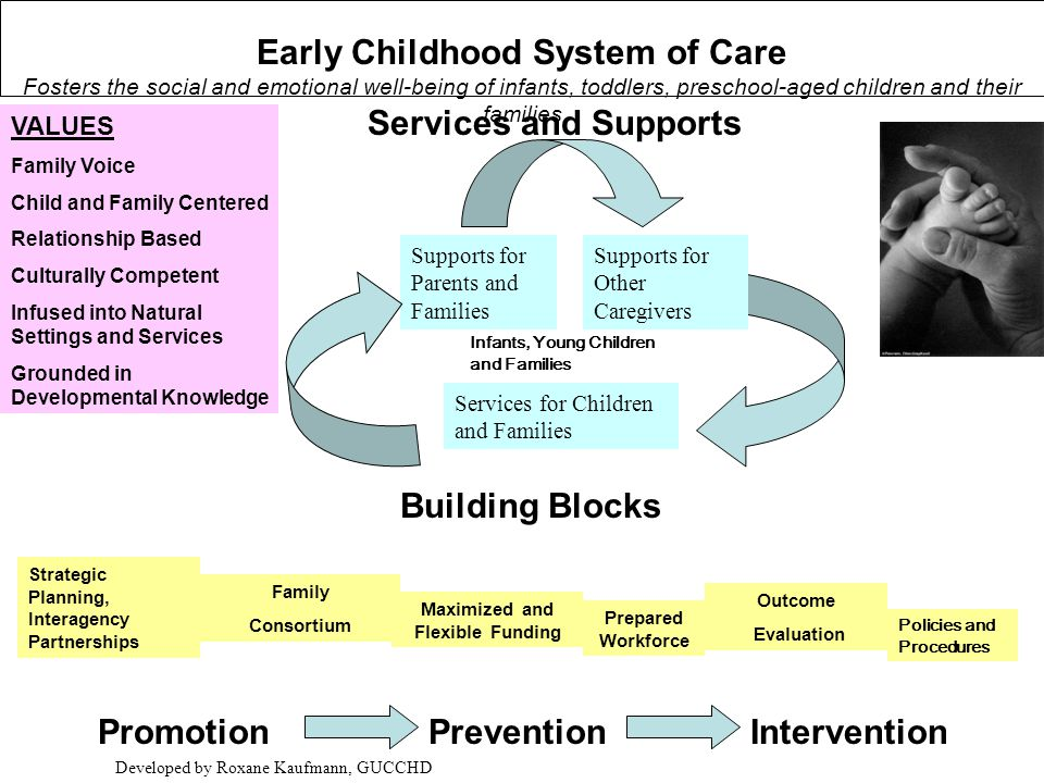 VALUES Family Voice Child and Family Centered Relationship Based Culturally Competent Infused into Natural Settings and Services Grounded in Developmental Knowledge Prepared Workforce Family Consortium Maximized and Flexible Funding Building Blocks PromotionPreventionIntervention Supports for Parents and Families Supports for Other Caregivers Services for Children and Families Services and Supports Outcome Evaluation Strategic Planning, Interagency Partnerships Developed by Roxane Kaufmann, GUCCHD Early Childhood System of Care Fosters the social and emotional well-being of infants, toddlers, preschool-aged children and their families Policies and Procedures Infants, Young Children and Families