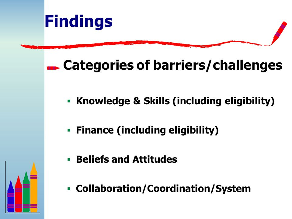 Findings Categories of barriers/challenges  Knowledge & Skills (including eligibility)  Finance (including eligibility)  Beliefs and Attitudes  Collaboration/Coordination/System