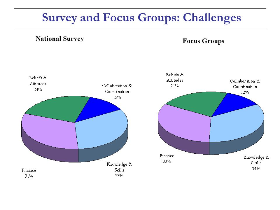 Survey and Focus Groups: Challenges National Survey Focus Groups